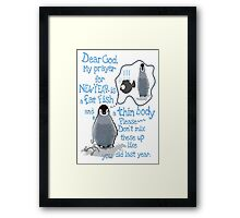 Baby penguin's funny New Year's resolution Framed Print