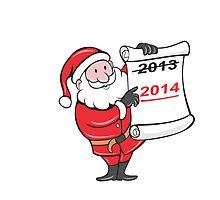 New Year 2014 Santa Claus Scroll Sign by patrimonio