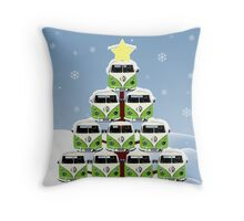 VW Camper Christmas Treemendous Throw Pillow