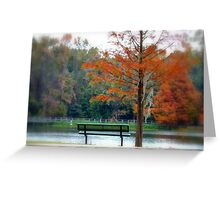 Autumn bench and lake Greeting Card