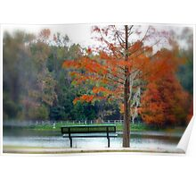 Autumn bench and lake Poster