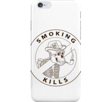 black and white no-smoking sing with gorilla's skeleton smoking pipe iPhone Case/Skin