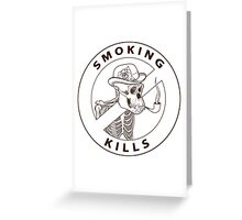 black and white no-smoking sing with gorilla's skeleton smoking pipe Greeting Card