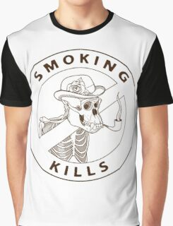 black and white no-smoking sing with gorilla's skeleton smoking pipe Graphic T-Shirt