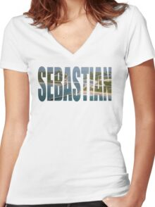 Sebastian Text Women's Fitted V-Neck T-Shirt