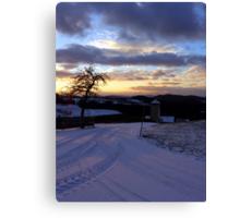 Amazing winter wonderland sundown   landscape photography Canvas Print