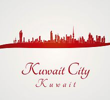 Kuwait City skyline in red by Pablo Romero
