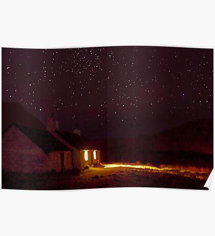 Stargazing at Black Rock Cottage, Glencoe, Scotland Poster