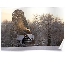 Cottage in the Snow Poster
