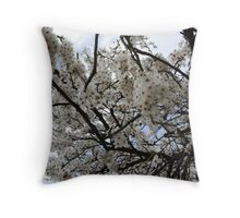 White Blossoms in Spring Throw Pillow