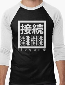 CONNECTION 接続 - llogan 愛 - White on Black Men's Baseball ¾ T-Shirt
