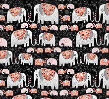Pattern of elephants in love by Tanor