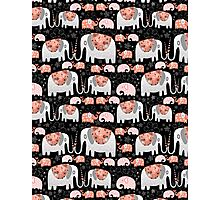 Pattern of elephants in love Photographic Print