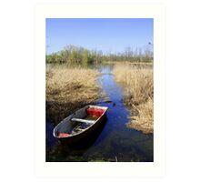 Lake wit boat Art Print