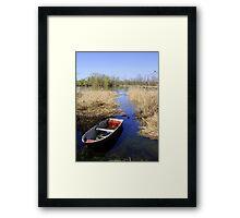 Lake wit boat Framed Print