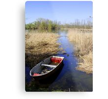 Lake wit boat Metal Print
