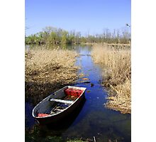 Lake wit boat Photographic Print