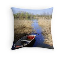 Lake wit boat Throw Pillow
