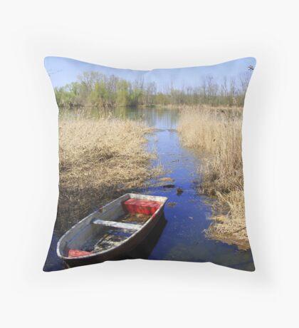 Lake wit boat Throw Pillow