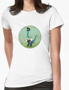 Captain Salty the pirate dinosaur Womens Fitted T-Shirt