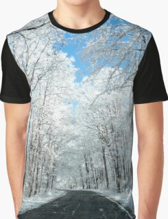 Snowy Winter Road Scene Graphic T-Shirt