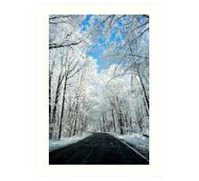 Snowy Winter Road Scene Art Print