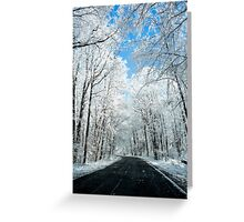 Snowy Winter Road Scene Greeting Card