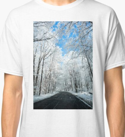 Snowy Winter Road Scene Classic T-Shirt