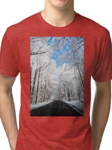 Snowy Winter Road Scene Tri-blend T-Shirt