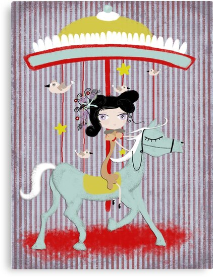 Carousel ribbon striped lighting bugs colorful whimsical streaks magic ride doll print by rupydetequila