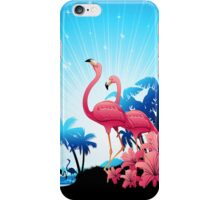 Pink Flamingos on Blue Tropical Landscape iPhone Case/Skin