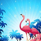 Pink Flamingos on Blue Tropical Landscape by BluedarkArt