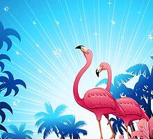 Pink Flamingos on Blue Tropical Landscape by BluedarkArt