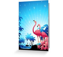 Pink Flamingos on Blue Tropical Landscape Greeting Card