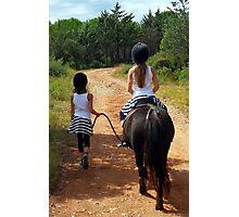 2 little girls had 1 little horse Photographic Print