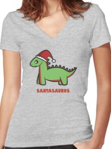 Santasaurus  Women's Fitted V-Neck T-Shirt