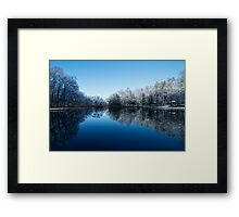 Snowy Winter Tree Reflections Framed Print