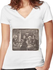 Vincent Van Gogh - The potato eaters 1885 (sketch) Women's Fitted V-Neck T-Shirt