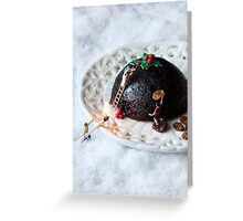 Christmas pudding work man Greeting Card