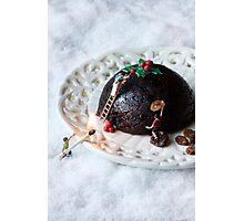 Christmas pudding work man Photographic Print