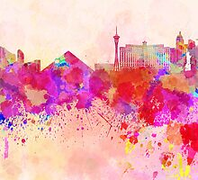 Las Vegas skyline in watercolor background by Pablo Romero