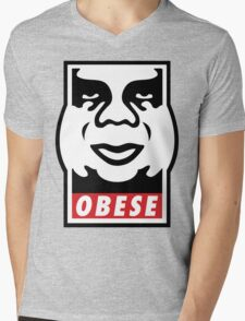 OBESE Mens V-Neck T-Shirt