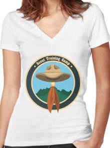 Scout camp logo Women's Fitted V-Neck T-Shirt