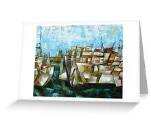 Boats at wharf Greeting Card
