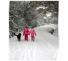 Sisters and dog on a snowy adventure Poster