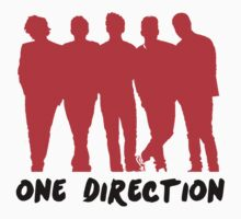One Direction Red Silhouette & Logo (black) by cbazoe