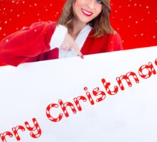 Santa Claus Woman With Sale Billboard Sticker