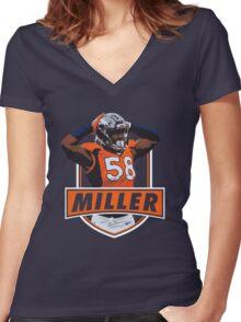Von Miller - Denver Broncos Women's Fitted V-Neck T-Shirt