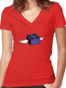 Flying Lego Women's Fitted V-Neck T-Shirt