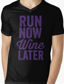 Run Now Wine Later Mens V-Neck T-Shirt